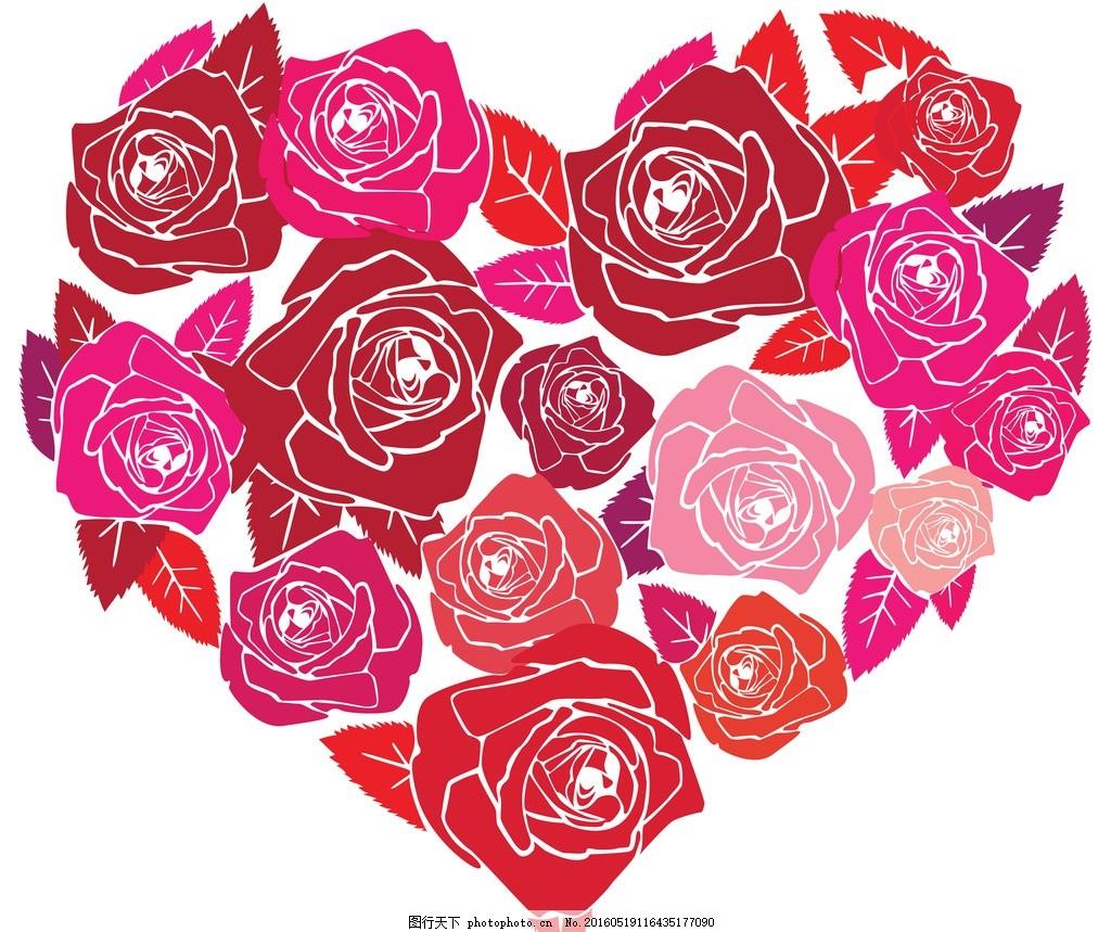 玫瑰 图片下载 心形 爱心 爱情 玫瑰花 粉玫瑰 手绘玫瑰 玫瑰花纹