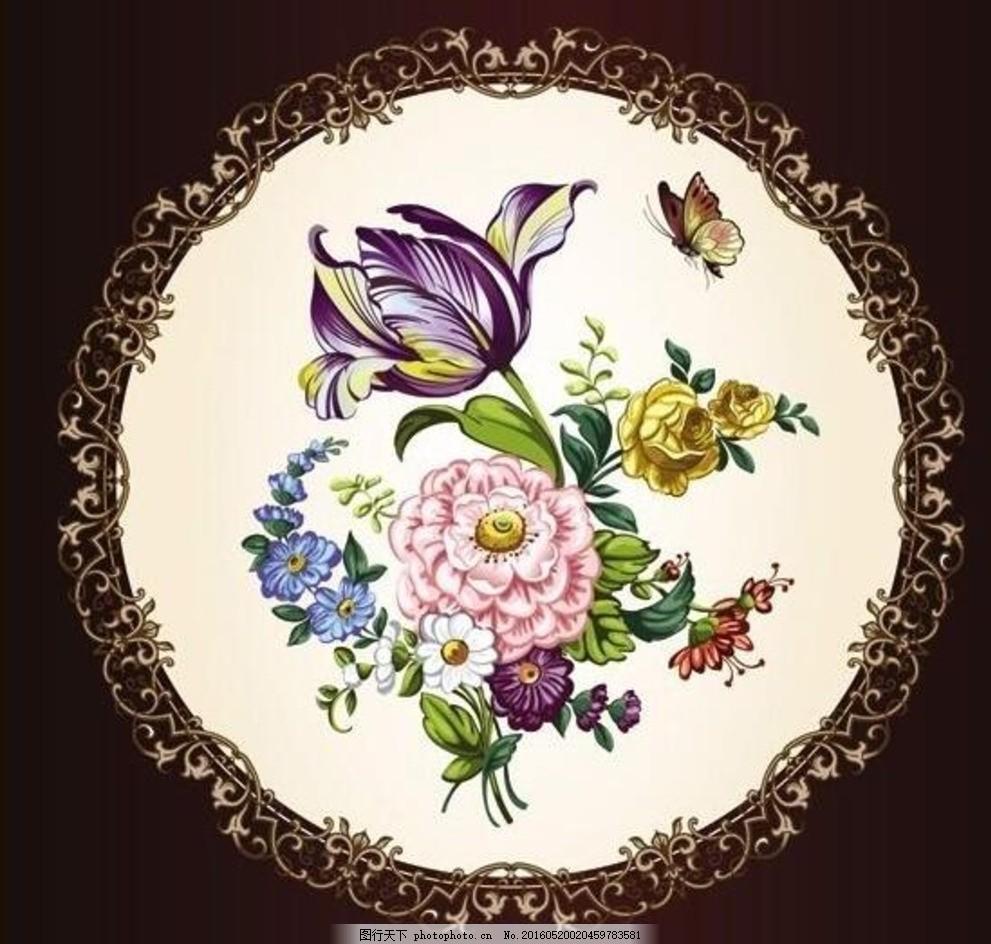 古典花鸟蝴蝶 欧式画框 古典 矢量素材 欧式 画框 圆形画框 圆形 蝴蝶