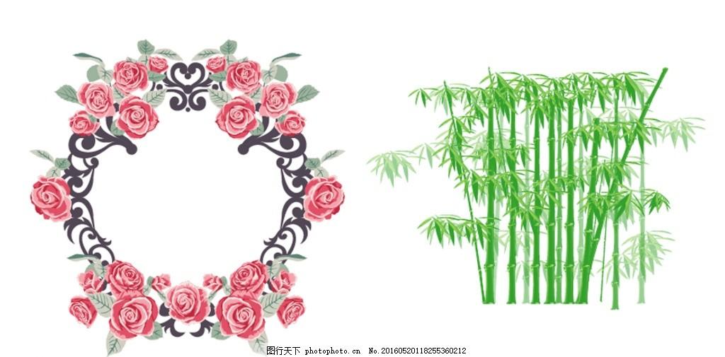 矢量花藤 矢量花藤素材 玫瑰花框 玫瑰花相框 手绘玫瑰花藤 玫瑰花藤