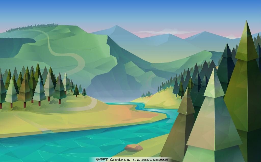 卡通风景 卡通山川河流 卡通 风景 山川 河流 松树 设计 广告设计