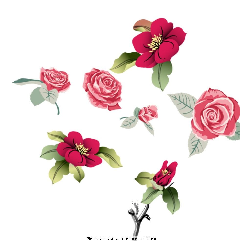 鲜花 花朵 梦幻花朵 矢量梦幻花朵 唯美 玫瑰花 矢量玫瑰花 手绘玫瑰