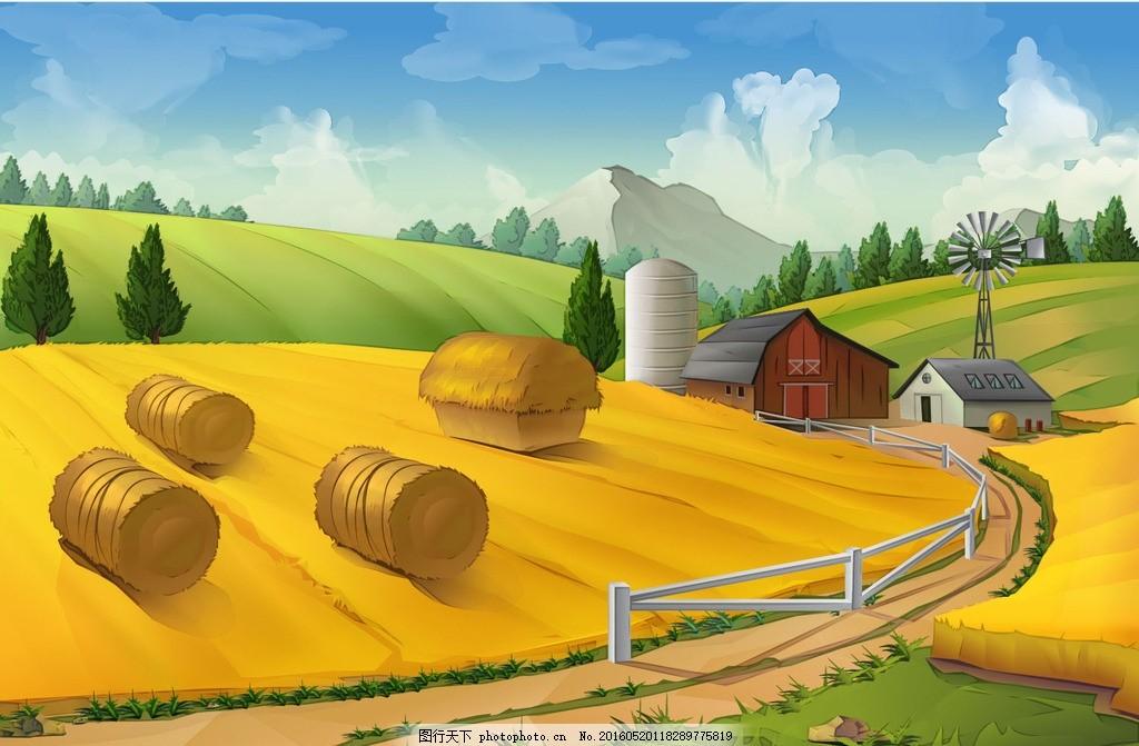 卡通田园风景