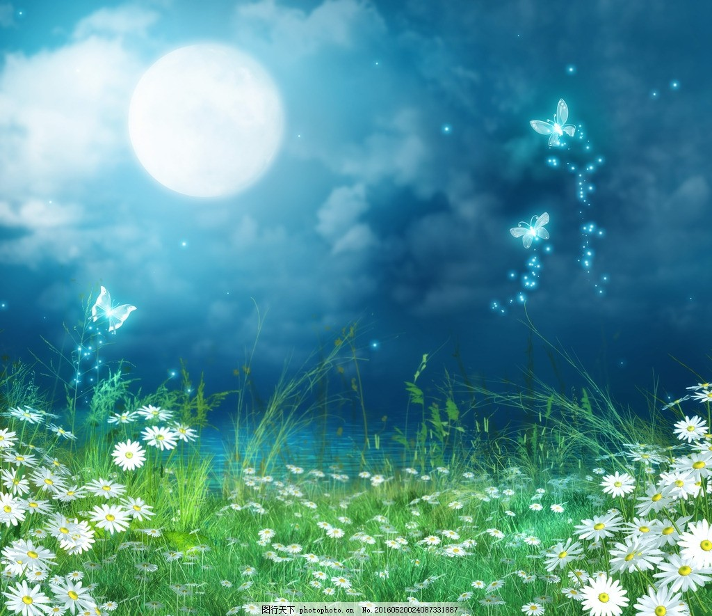 梦幻 森林 背景 风景 美丽 壁纸 海报 山水 星空 雪山 月亮