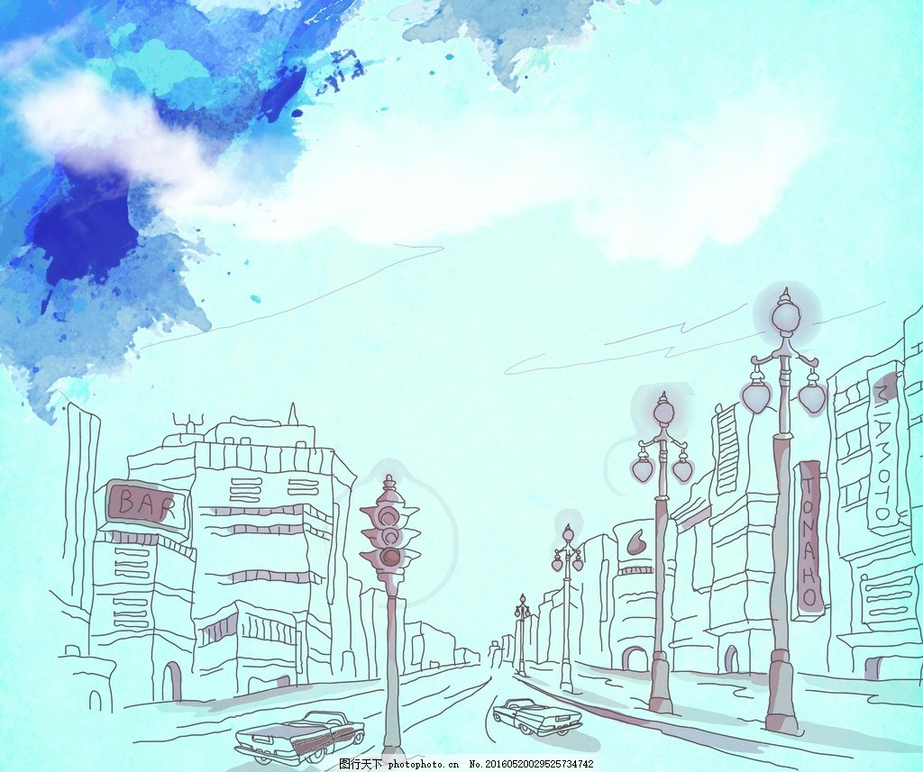 彩绘 手绘 城市 街景