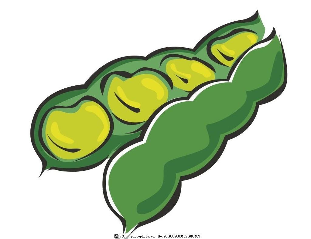 豆角 毛豆 蔬菜 简笔画 线条 线描 简画 黑白画 卡通 手绘