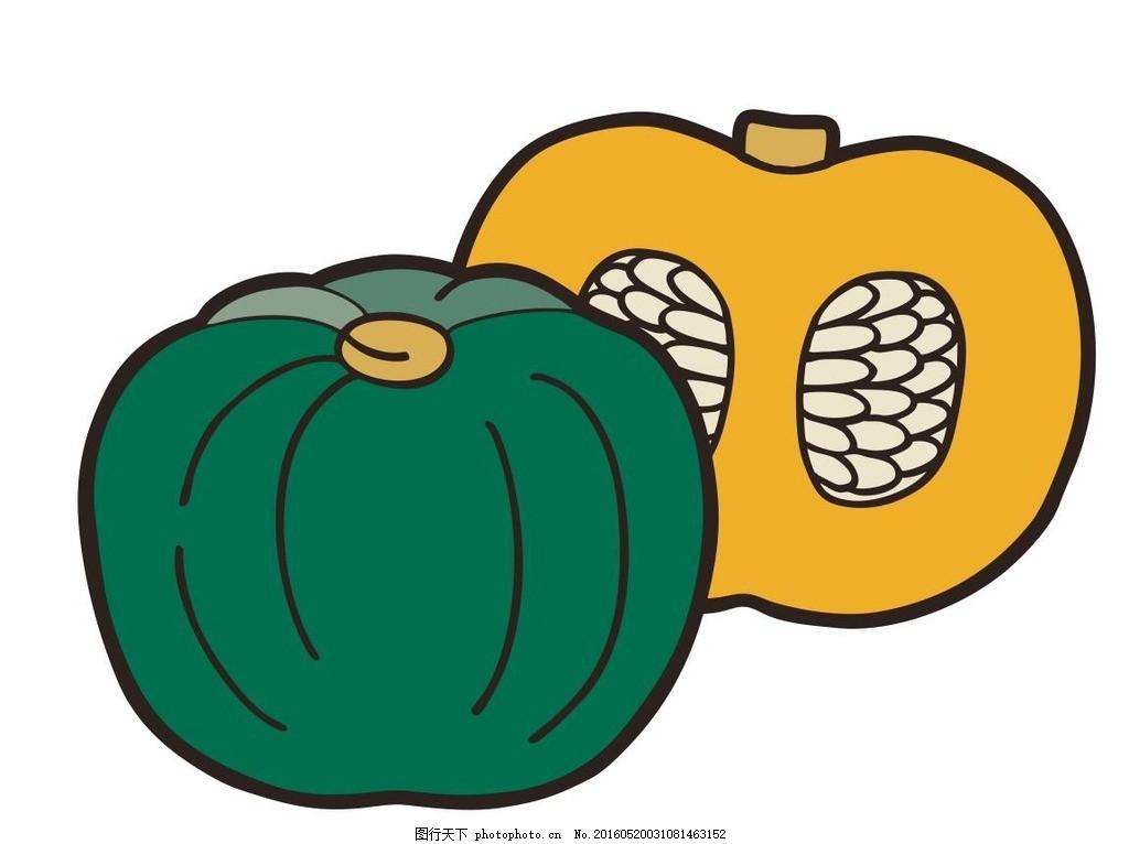 南瓜 蔬菜 简笔画 线条 线描 简画 黑白画 卡通 手绘 标志图标图片