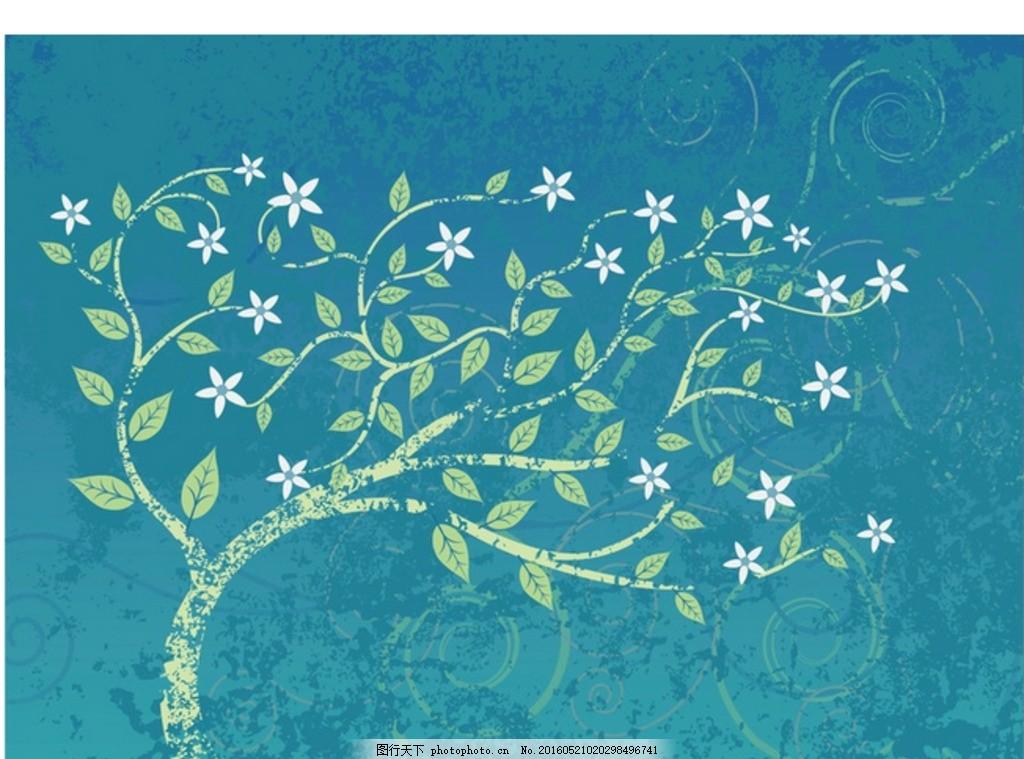 复古 蓝绿 风中 摆动 树木 手绘树木 绿色树 植树节 一棵树 创意树 抽