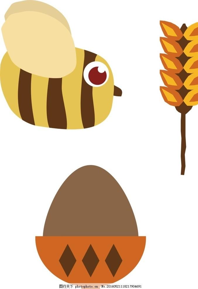 蜜蜂 麦子 松子 卡通素材 可爱 手绘素材 儿童素材 昆虫 幼儿园素材