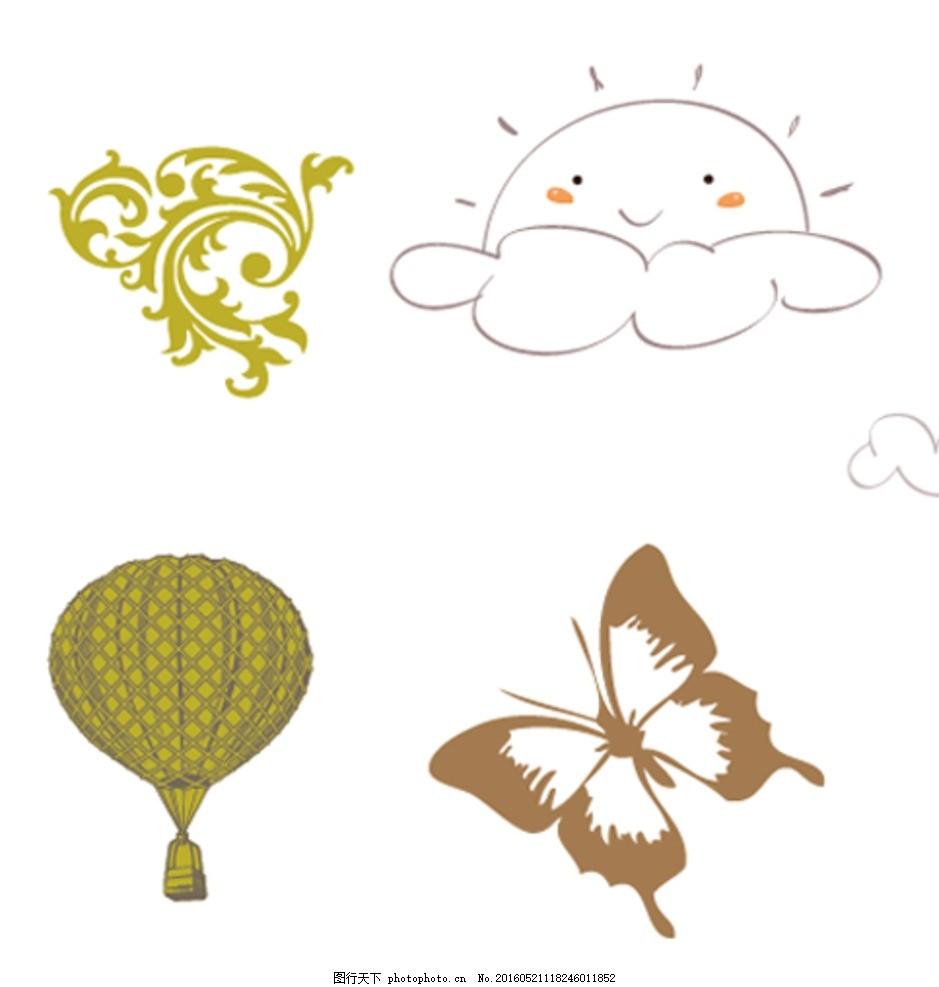 花纹 热气球 太阳 蝴蝶 矢量素材 矢量 素材 手绘素材 手绘 欧式素材