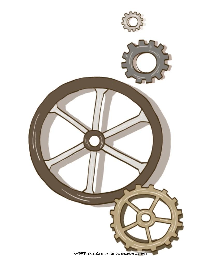 齿轮素材,金属 齿轮组 机械 手绘 矢量 齿轮元素-图行