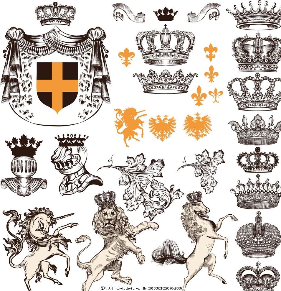 盾牌 皇冠 王冠 狮子 盾牌背景 边框 复古 花纹 简欧 纹理 艺术 欧式