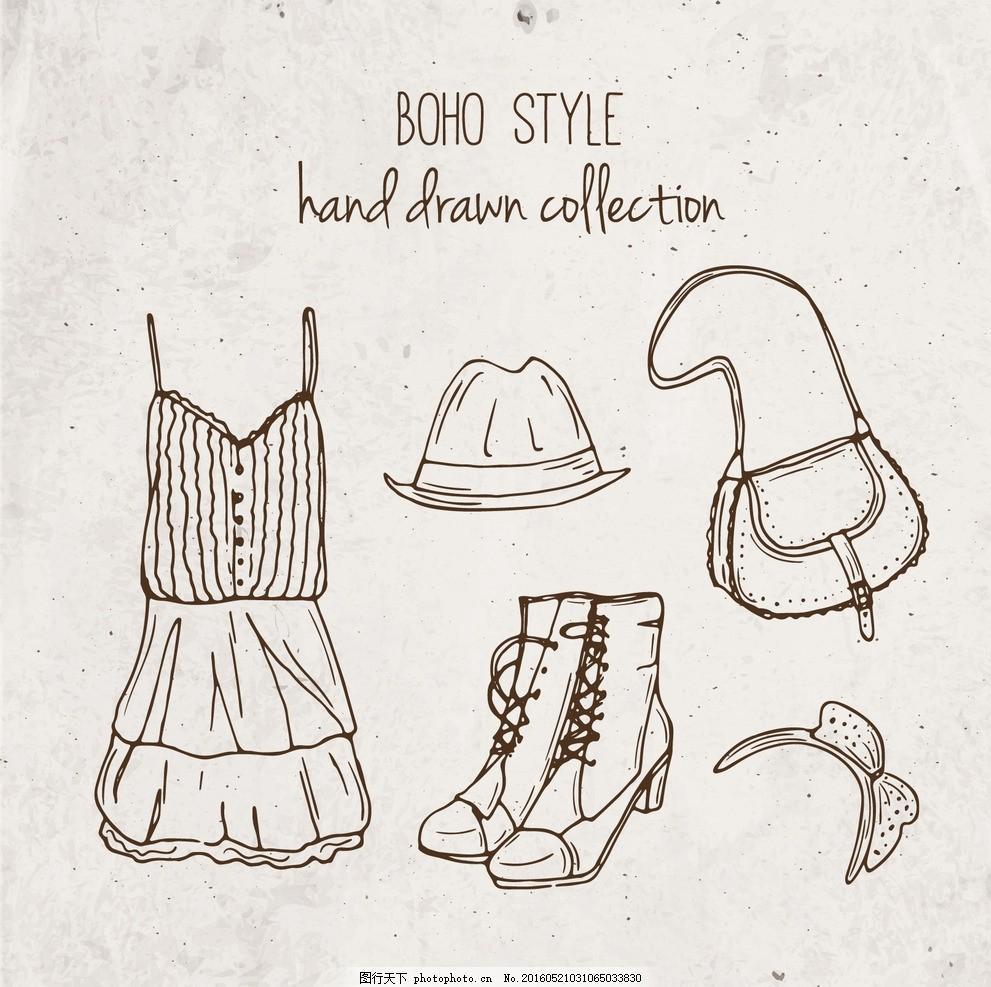 手绘衣服 纸 纹理 时尚 饰品 箱包 印度 服装 帽子 部落 连衣裙