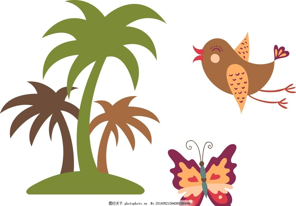 椰子树 小鸟 蝴蝶 卡通素材 可爱 素材 手绘素材 幼儿园素材 卡通装饰