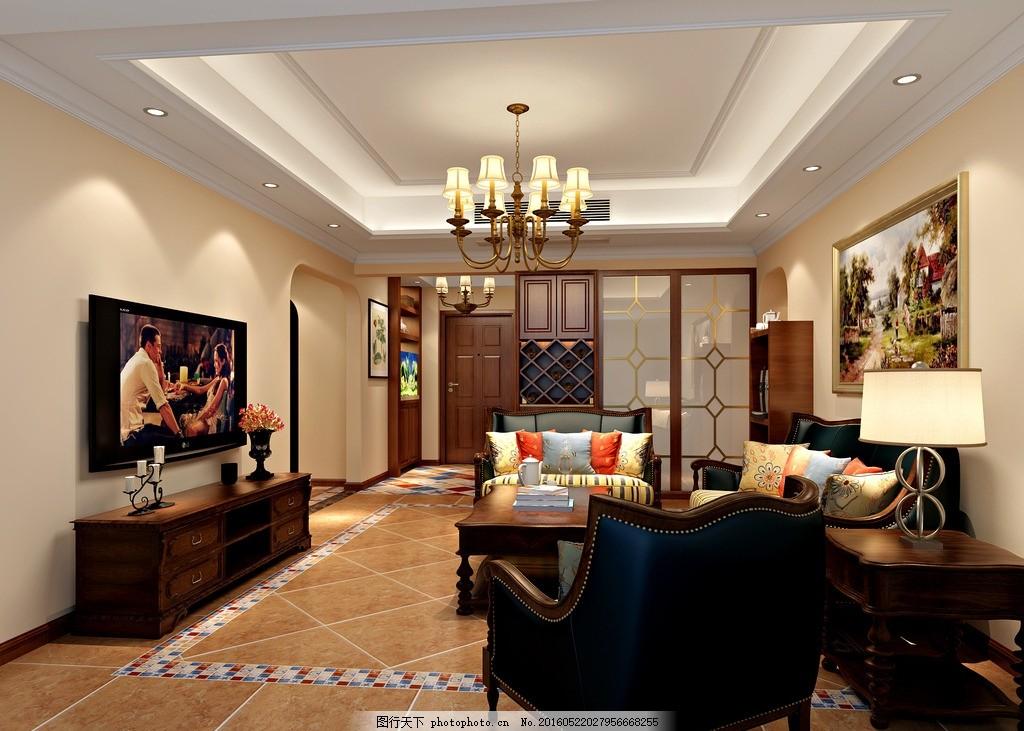 美式客厅效果图 沙发 仿古砖 空调 吊顶 乳胶漆 壁画 吊灯