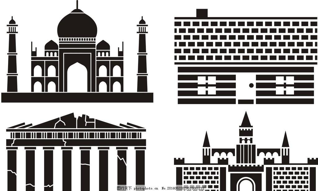 线条 矢量素材 素材 图标 黑白剪影 矢量剪影素材 教堂矢量剪影 城堡