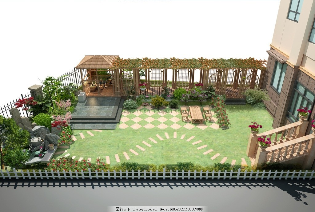 花园效果图 家庭院效果图 花园效果图 花园景观效果 园林景观效果