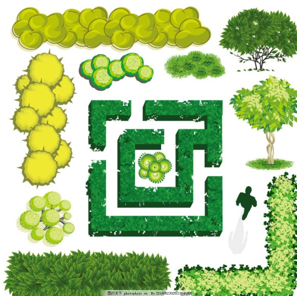 树木平面装饰 景观装饰 树木 平面 绿色植物 卡通树 树木插画 景观