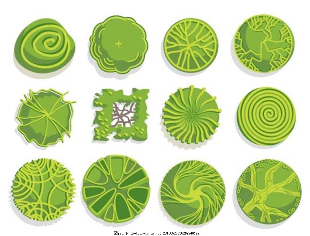 设计图库 生物世界 树木树叶  树木平面装饰 景观装饰 树木 平面 绿色图片