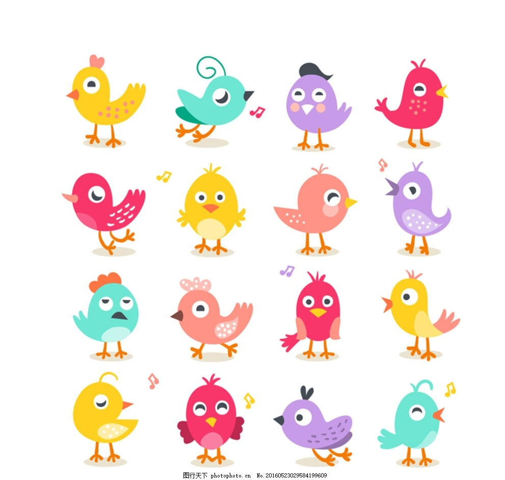 卡通小鸟 手绘可爱小鸟 可爱小鸟 卡通可爱小鸟 手绘 cdr 矢量素材