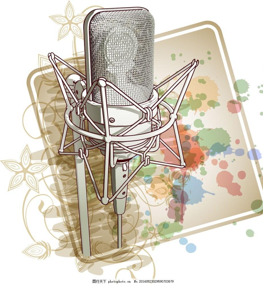 麦克风 耳麦 耳机 卡拉ok k歌 话筒 ktv 唱歌 演唱 播音 主持 设计