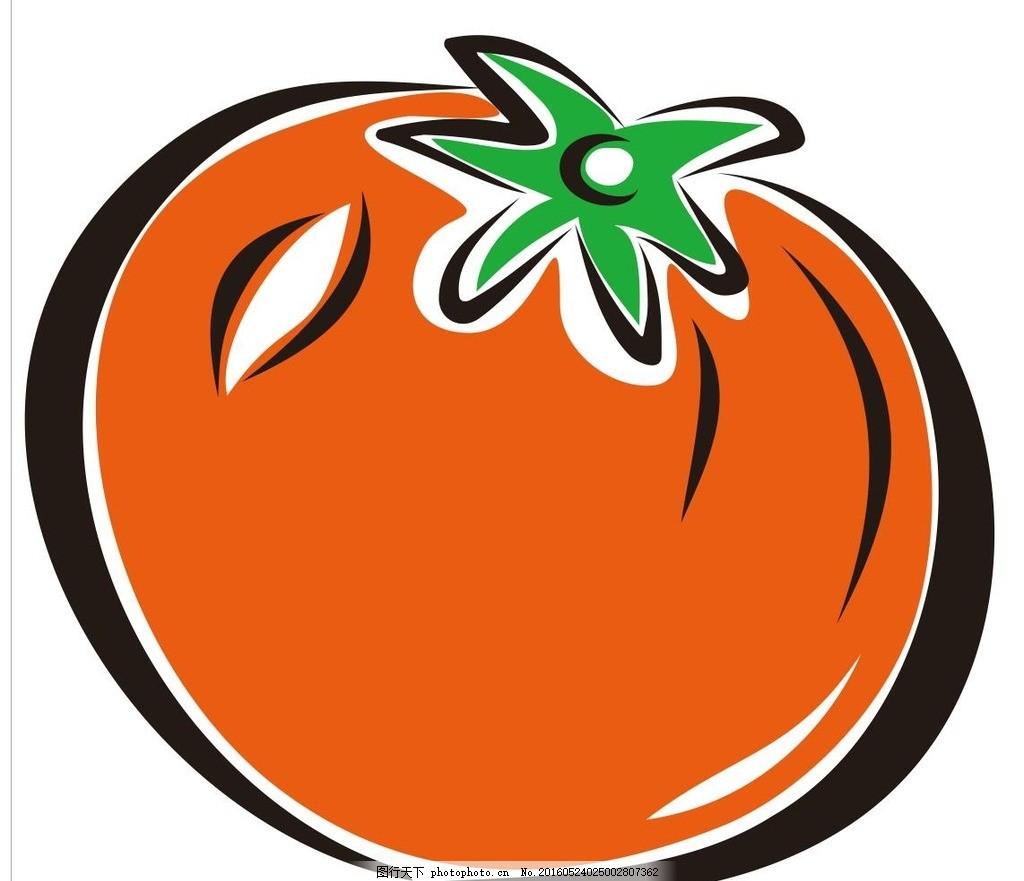 西红柿 简笔画 线条 线描 简画 黑白画 卡通 手绘 标志图标 简单手绘