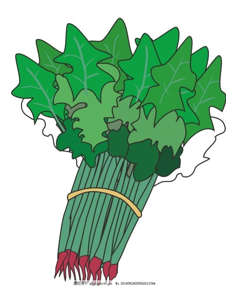 青菜 菠菜 简笔画 线条 线描 简画 黑白画 卡通 手绘 标志图标