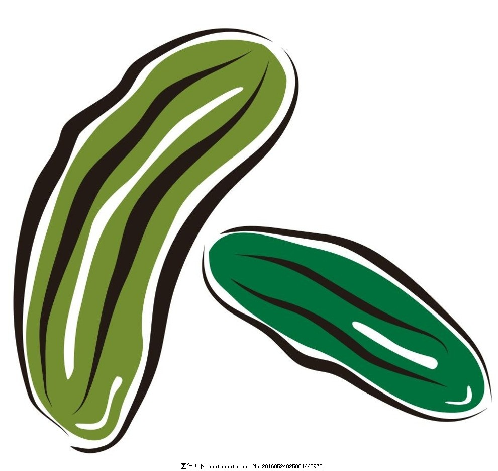 丝瓜 苦瓜 蔬菜 水果 简笔画 线条 线描 简画 黑白画 卡通 手绘 标志