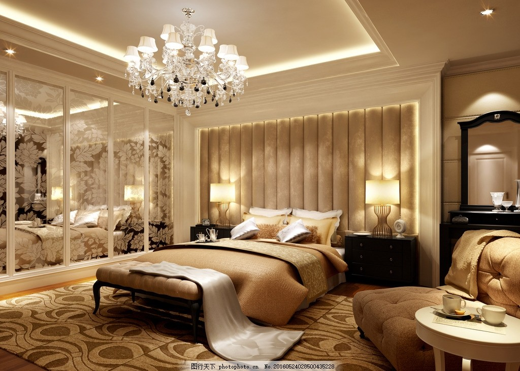 高贵软床 温馨室内 木地板 成角透视 水晶灯 建筑 摄影 人文