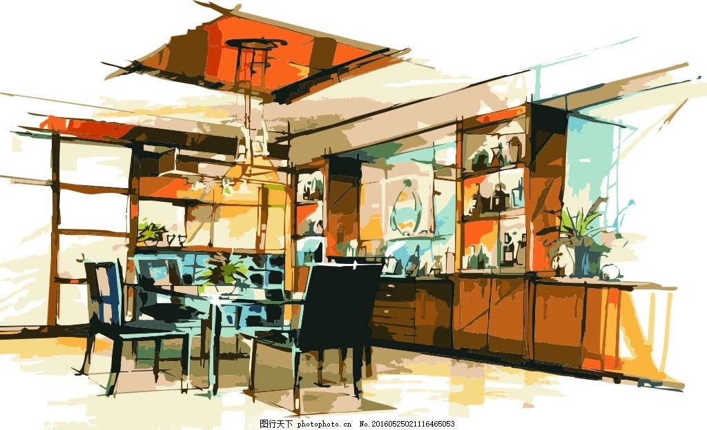 餐厅 手绘 效果图 室内设计