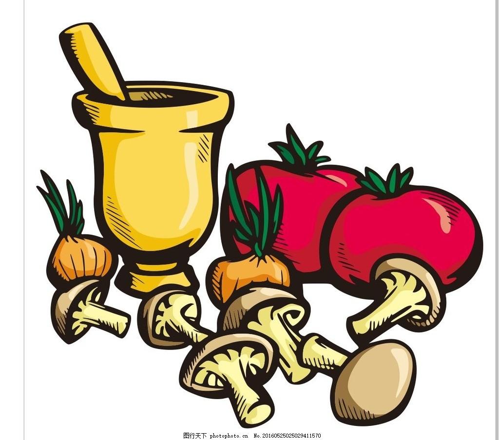 西红柿 蘑菇 蔬菜 水果 简笔画 线条 线描 简画 黑白画 卡通 手绘