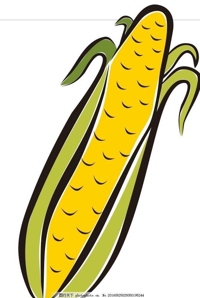玉米 玉米棒子 蔬菜 水果 简笔画 线条 线描 简画 黑白画 卡通 手绘