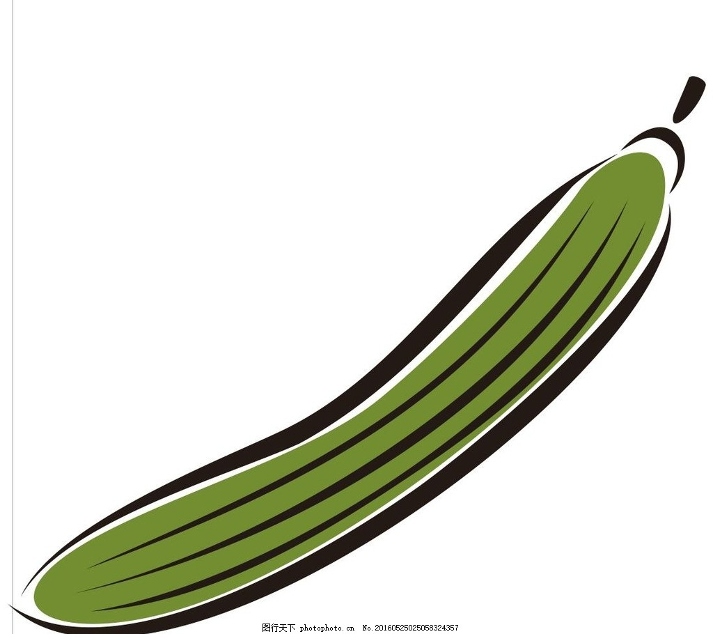 丝瓜 水果 简笔画 线条 线描 简画 黑白画 卡通 手绘 标志图标