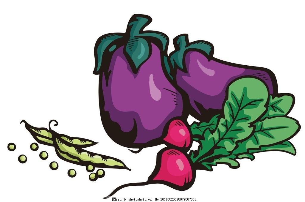 萝卜 豆角 茄子 蔬菜 水果 简笔画 线条 线描 简画 黑白画 卡通 手绘