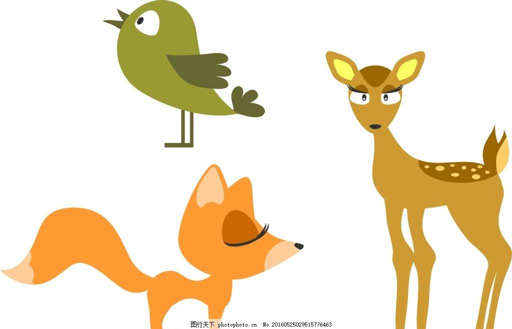 狐狸 麋鹿 小鸟,卡通素材 可爱 手绘素材 幼儿园素材