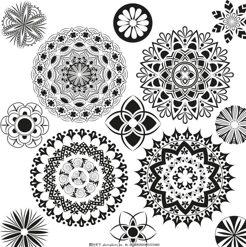 精美装饰花纹 圆形装饰花纹 圆形印花花纹 对称花纹 黑白花纹 花纹