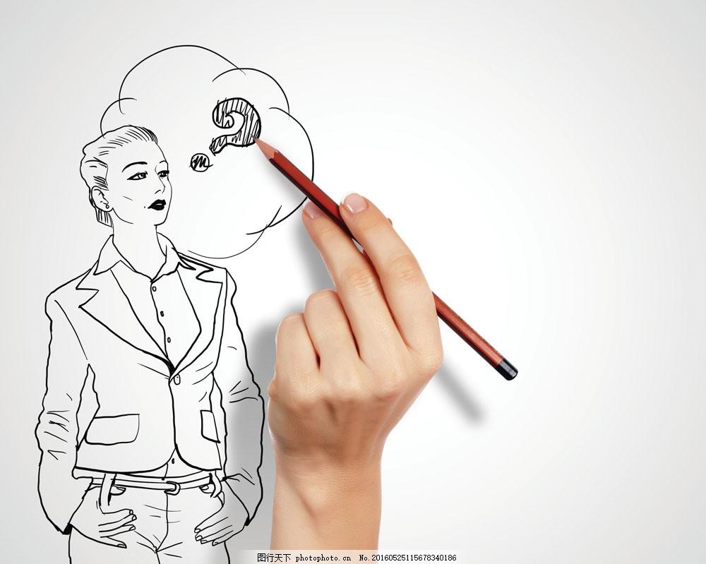 手绘商务女士图片素材 手绘 商务插画 商务漫画 职业人物 手势 钢笔