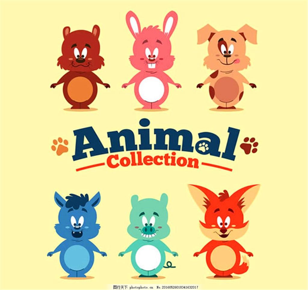 可爱动物矢量 松鼠 兔子 狗狼猪 狐狸 脚印 卡通 矢量图