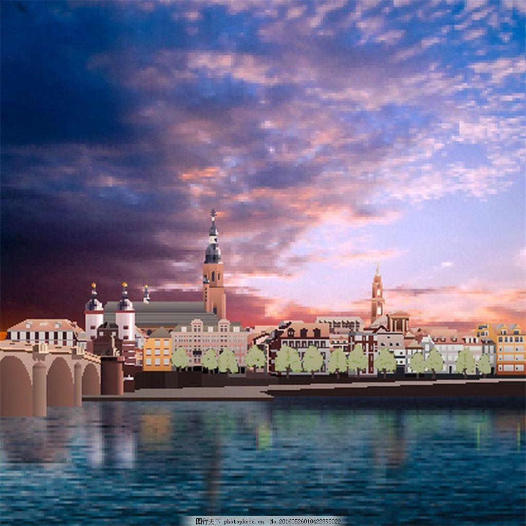 美丽的水边城市 风景 黑色 环境 家居 建筑 美丽风景 风光 城市风光