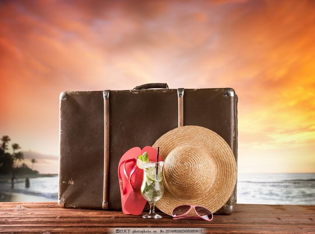 夏天,海滩 旅行箱 旅游 果汁 热带 美景 沙滩 大海-图