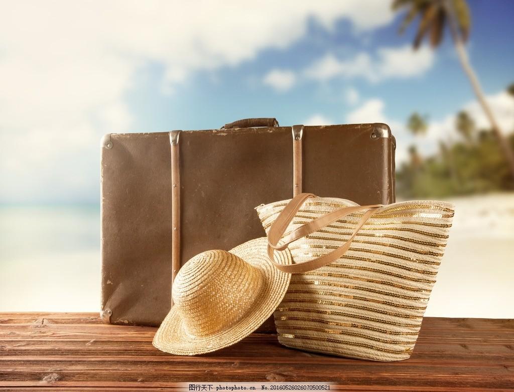 夏天,海滩 旅行箱 草帽 也带 椰子树 海岛 岛屿-图行