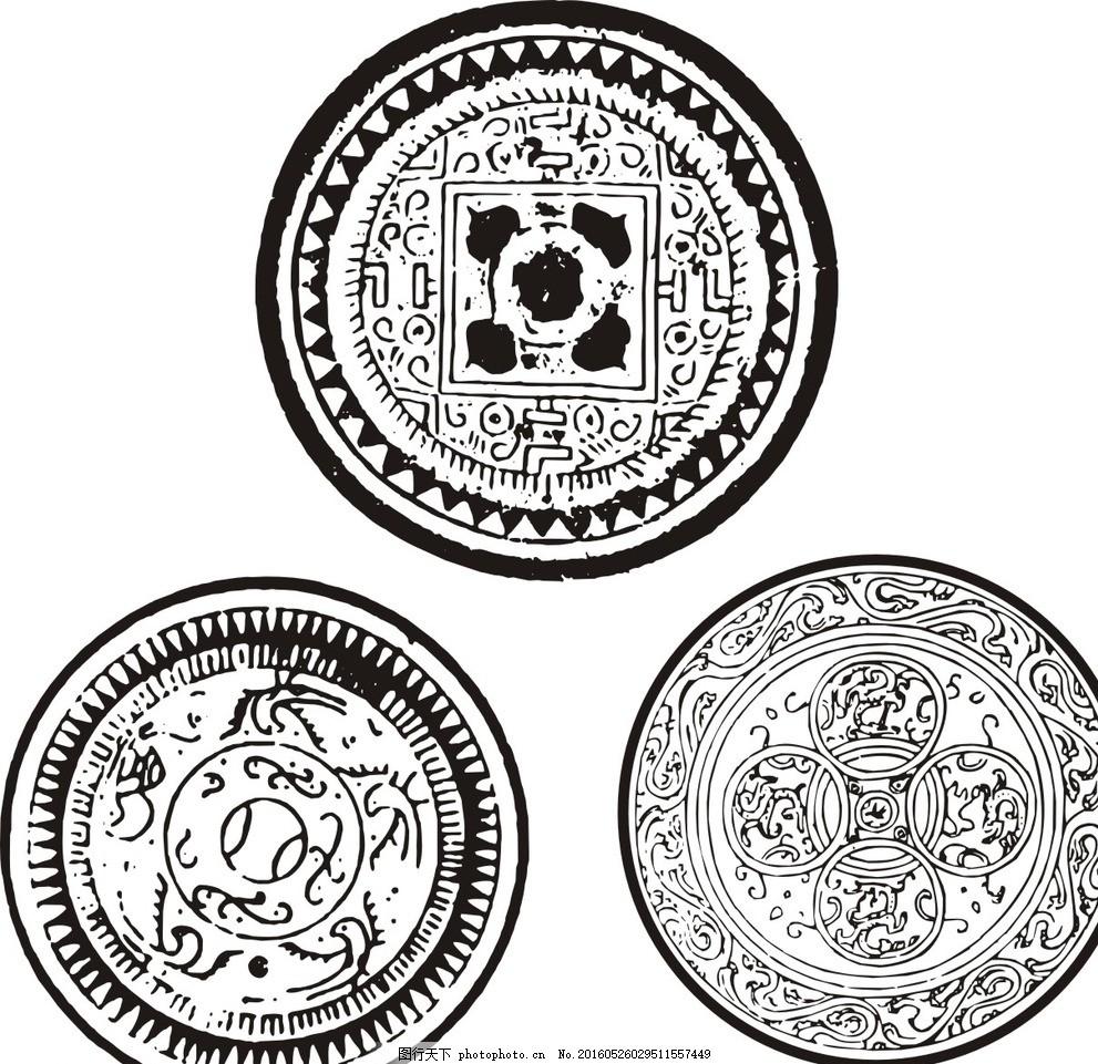 古典圆形花纹 白圆形花纹 黑白 矢量圆形花纹 时尚 潮流 唯美 经典