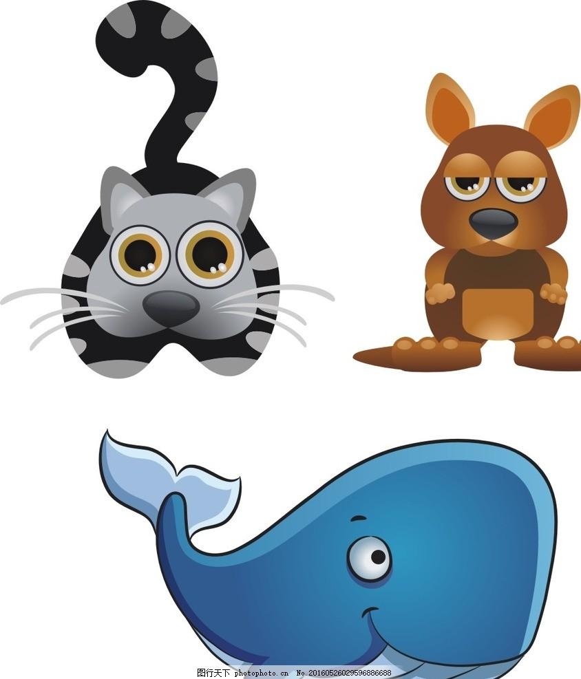 小猫 袋鼠 鲸鱼 卡通素材 可爱 素材 手绘素材 幼儿园素材 卡通 矢量