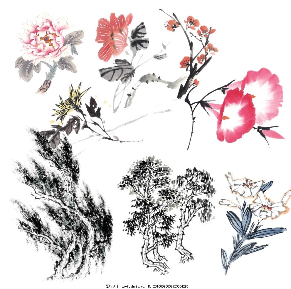 水墨画素材 水墨画 写意画 牵牛花 国画 国画牡丹 中式花 中国风花鸟