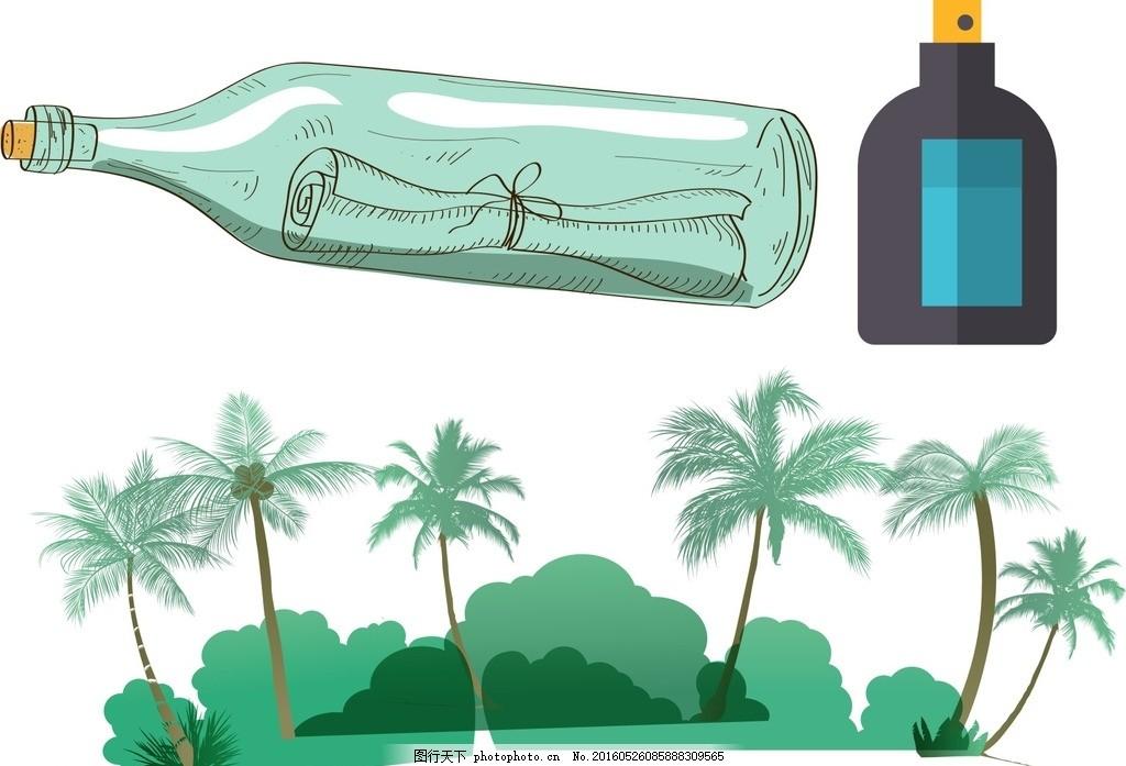 漂流瓶 卡通漂流瓶 手绘漂流瓶 矢量漂流瓶 漂流瓶素材 卡通瓶子 手绘