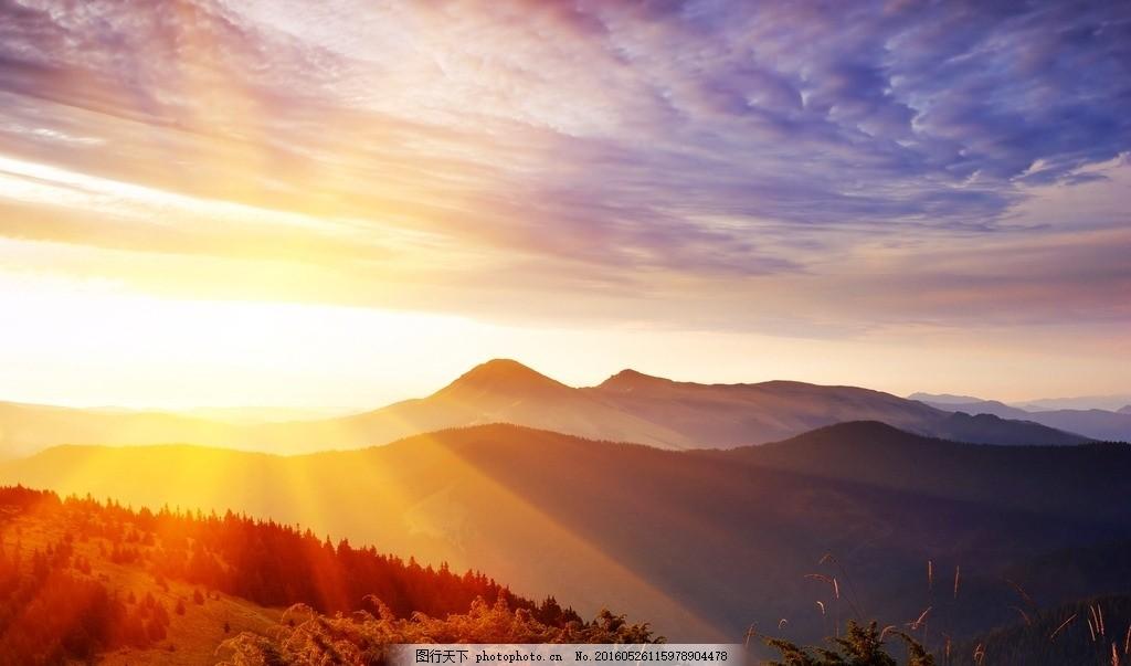 山林日出 摄影 素材 照片 景色 风景 自然风光 景物 日出 山林 摄影