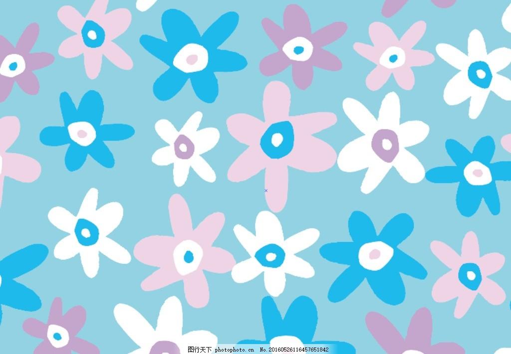 小清新花朵背景底纹,彩色花朵 蓝色 花儿 彩色背景-图