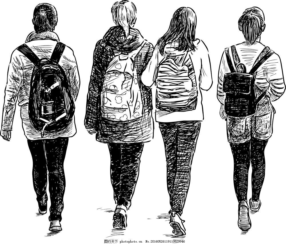 学生 女学生 书包 背书包的学