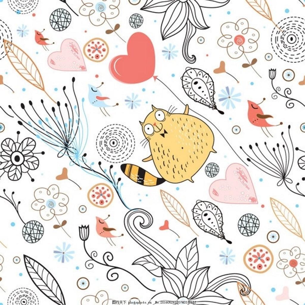 植物线条花纹矢量素材 花纹 植物花纹 线条花纹 猫 矢量素材