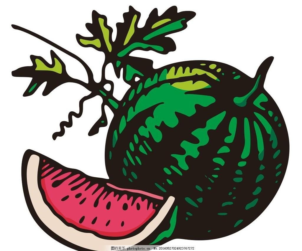 西瓜 大西瓜 水果 fruit 彩绘水果 简笔画 线条 线描 简画 黑白画