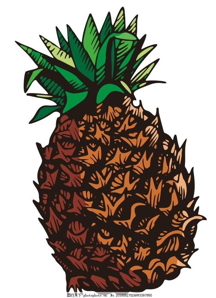菠萝 彩绘水果 简笔画 线条 线描 简画 黑白画 卡通 手绘 标志图标